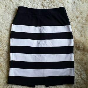 White house black market striped skirt
